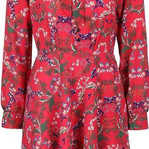 Tmavě růžové květinové šaty s vázankou Trollied Dolly What A Scarf