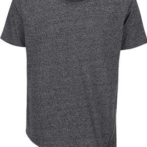 Černé asymetrické triko s ozdobným zipem Shine Original