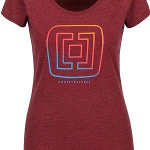Vínové dámské žíhané tričko s logem Horsefeathers Aurora
