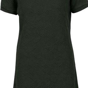 Tmavě zelené šaty s plastickým vzorem gsus