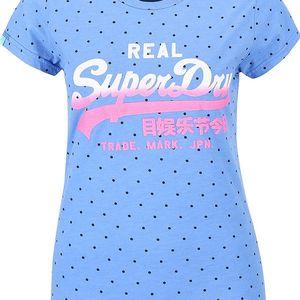 Modré dámské puntíkované tričko s potiskem Superdry