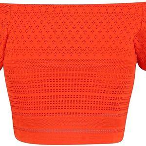 Oranžový krátký krajkový top s odhalenými rameny Miss Selfridge