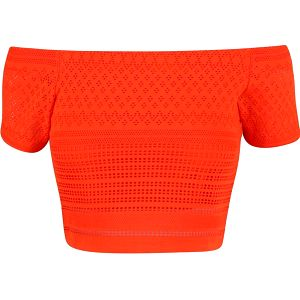 Oranžový krátký krajkový top Miss Selfridge