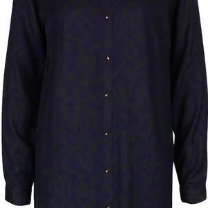 Tmavě modré košilové šaty se vzorem a detaily ve zlaté barvě PEP Fallon