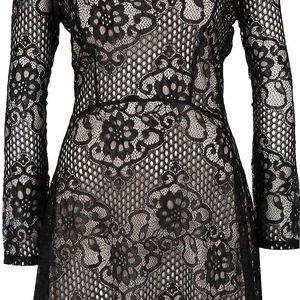 Černé krajkové šaty s dlouhým rukávem Miss Selfridge