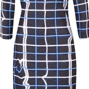 Modro-černé kostkované šaty s 3/4 rukávy Smashed Lemon