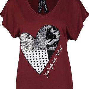 Vínové tričko se srdcem Desigual Beget