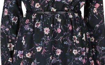 Černé květované šaty s páskem a dlouhým rukávem Smashed Lemon