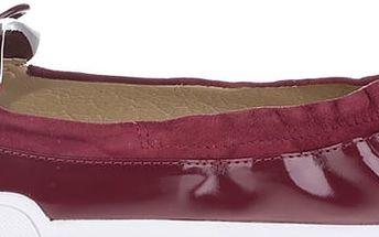 Tmavě červené lesklé balerínky do kabelky Butterfly Twists Robyn