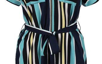 Tmavě modré šaty s barevnými pruhy a zipem Dorothy Perkins