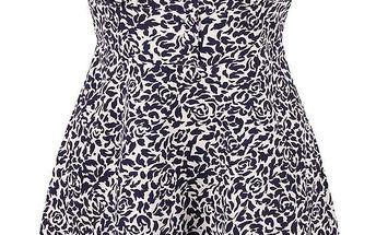Modré vzorované šaty s límečkem Fever London Betty