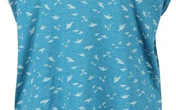 Tyrkysové žíhané dámské oversized tričko s potiskem Ragwear Hipe
