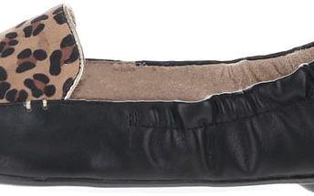 Černé balerínky s leopardím vzorem do kabelky Butterfly Twists Amber