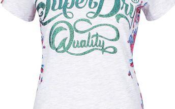 Světle šedé žíhané dámské tričko s potiskem Superdry Quality