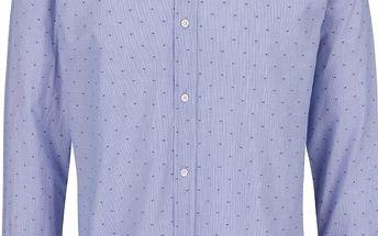 Šedo-modrá slim fit košile s jemným vzorem Jack & Jones Ethan