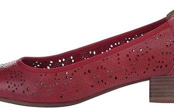 Červené kožené perforované balerínky na nízkém podpatku Tamaris