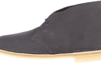 Tmavě šedé pánské semišové kotníkové boty Clarks Desert Boot