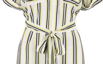 Krémové košilové šaty s páskem a barevnými pruhy Dorothy Perkins