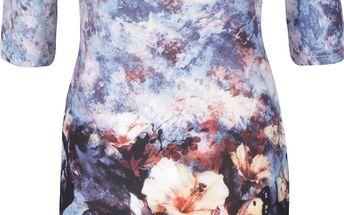 Modré vzorované šaty s kulatým výstřihem a 3/4 rukávy Smashed Lemon