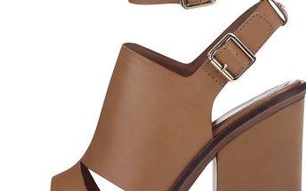 Hnědé kožené sandály na podpatku ALDO Callie