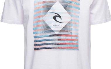 Bílé pánské triko s potiskem Rip Curl Blur Lines SS Tee