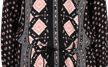 Růžovo-černé vzorované šaty Rip Curl Guetaria