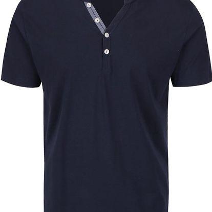 Tmavě modré triko s knoflíky Selected Homme Pima