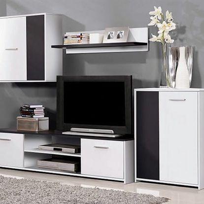 Variabilní obývací stěna Paco PCOM02-V05 (bílá/černá)