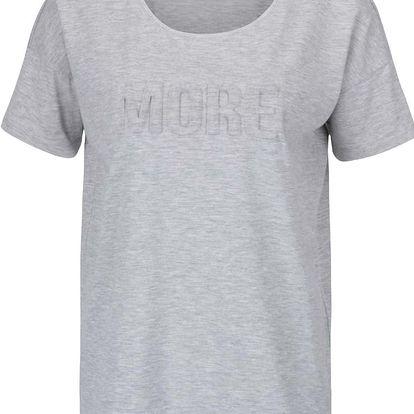 Světle šedé žíhané tričko s plastickým nápisem ONLY Alexa