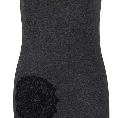 Tmavě šedé svetrové šaty s černými ornamenty Desigual Coral