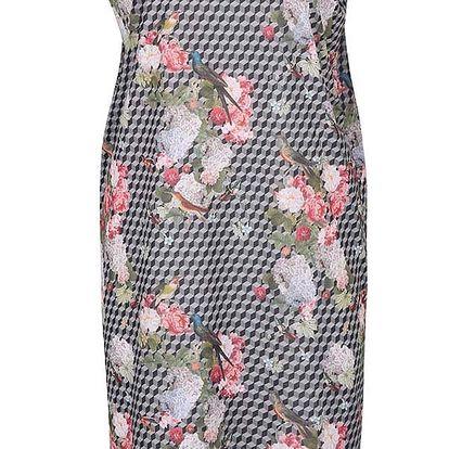 Šedé vzorované šaty s květovaným potiskem gsus
