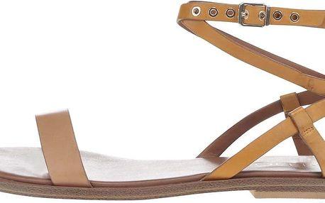 Světle hnědé kožené sandály se zapínáním ve zlaté barvě ALDO Ceilia