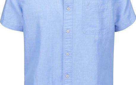 Modrá pánská košile z ramie s krátkým rukávem