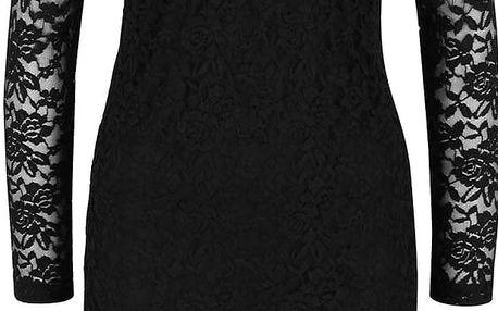 Černé krajkované šaty s dlouhým rukávem Polar b.young