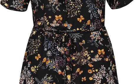 Černé květinové šaty s volánkem Trollied Dolly Frill Tea