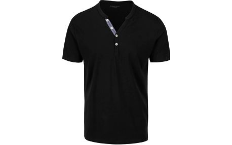 Černé triko s knoflíky Selected Homme Pima
