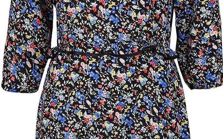 Modro-černé květinové šaty s volánky Trollied Dolly Frilly