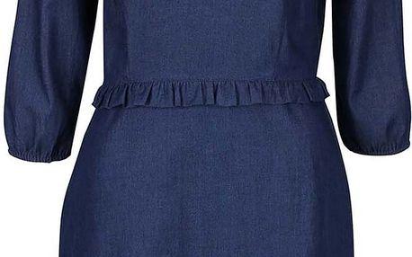 Modré denimové šaty s volánky Trollied Dolly Frilly