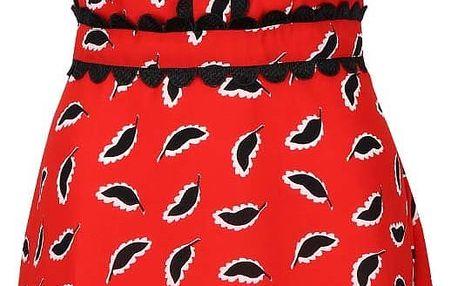Červené šaty s černým motivem a krajkou Trollied Dolly Twiggy
