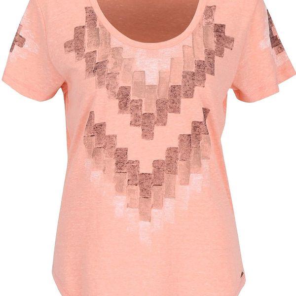 Meruňkové dámské žíhané tričko s potiskem Rip Curl Pucon