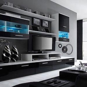 Oblíbená moderní obývací stěna Alfa (provedení bílá/černá)