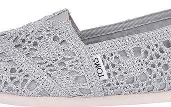 Háčkované dámské loafers ve stříbrné barvě TOMS Classic