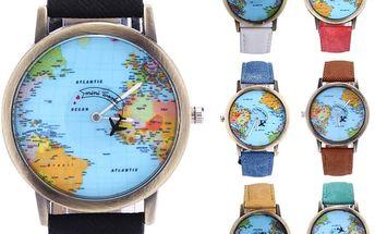 Cestovatelské hodinky s letadélkem - dodání do 2 dnů