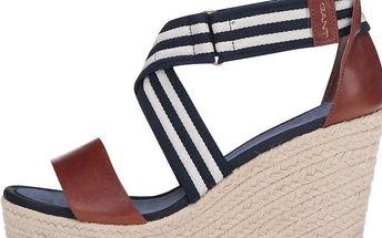 Hnědo-modré kožené sandálky na klínku GANT Stella