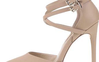 Béžové sandálky s páskem na jehlovém podpatku Miss Selfridge