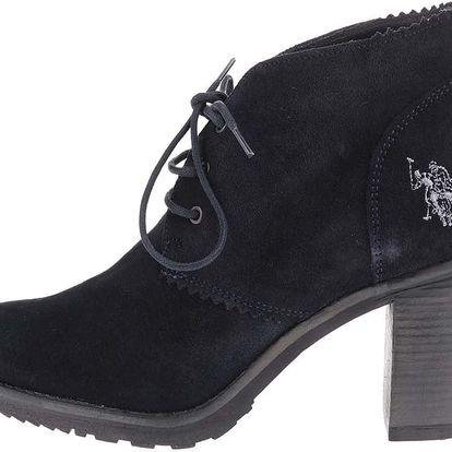 Černé dámské kožené boty na podpatku U.S. Polo Assn. Maruska
