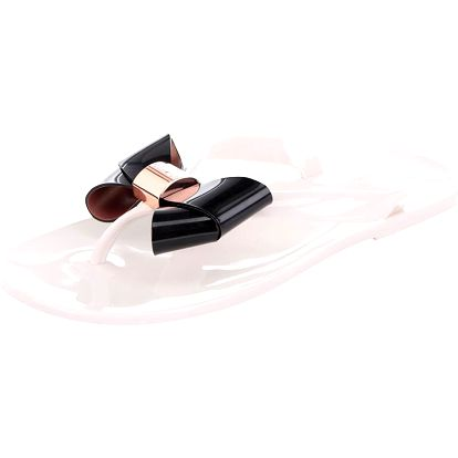 Krémové plastové žabky s černou mašlí Ted Baker Ettiea