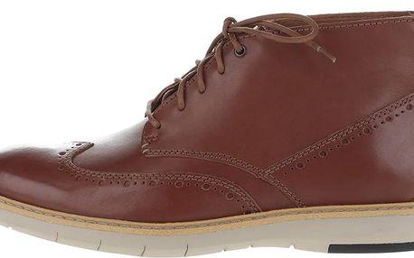 Hnědé pánské kožené kotníkové boty Clarks Flexton Mid