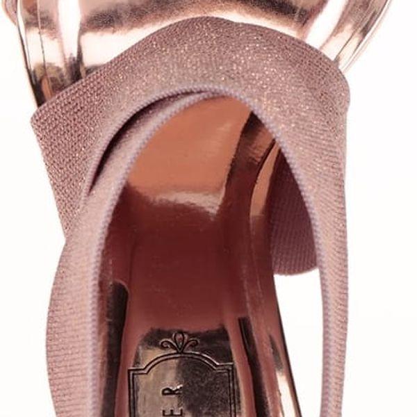 Sandály na podpatku v růžovozlaté barvě Ted Baker Leniya2