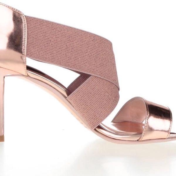 Sandály na podpatku v růžovozlaté barvě Ted Baker Leniya5